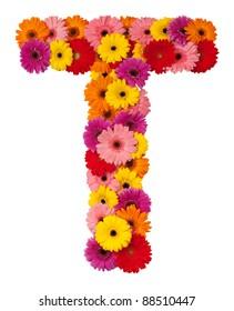 Letter T - flower alphabet isolated on white background
