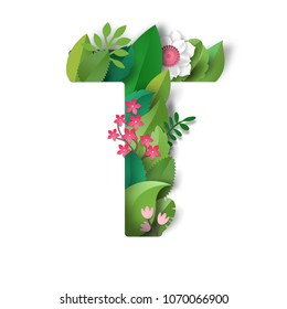 Letter T. Leaves and flowers. Realistic shadows. Paper cut design.