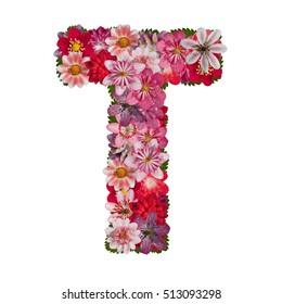 letter T red flowers alphabet