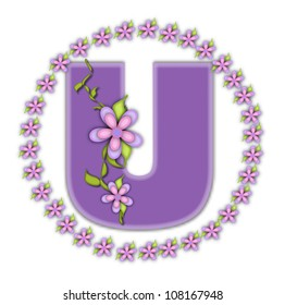 The letter U, in the alphabet set Petite Ring of Petals, is soft lilac and surrounded by a circle of daisies.  Climbing vines and flowers cling to lilac letter on a white background.