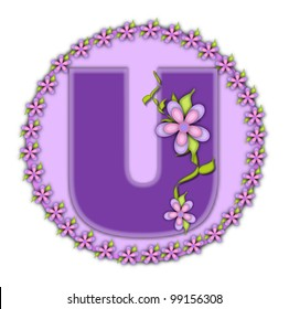 The letter U, in the alphabet set Petite Floral, is soft lilac.  Climbing vines and flowers cling to lilac letter.
