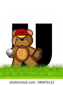"""The letter U, in the alphabet set """"Teddy Baseball,"""" is black and sits on baseball field of green grass.  Brown teddy bear, baseball, cap and glove decorate letter."""