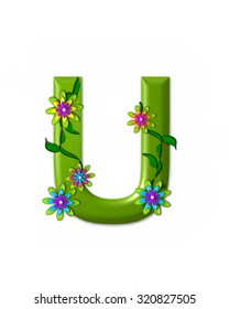 """The letter U, in the alphabet set """"Wonderland"""" is 3d and colored green.  Letter is decorated with 3d flowers and vines."""