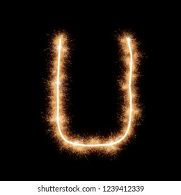 Letter U of alphabet written by squib sparks on a black background.