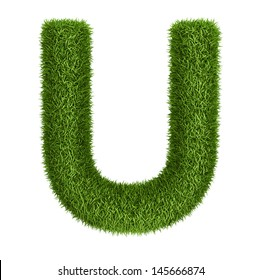 Letter  U isolated photo realistic grass ecology theme on white
