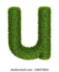 Letter u lowercase photo realistic grass ecology theme on white