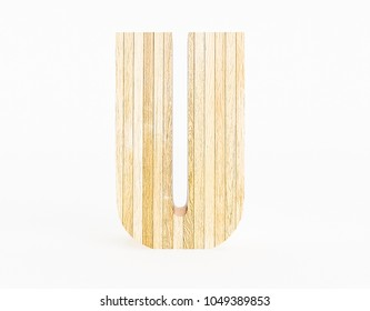 Letter U made with wood on white background. 3d Rendering.