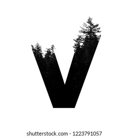 Letter V hipster wilderness font lettering. Outdoor adventure.