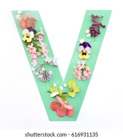 Letter V Made of Spring Flowers and Paper, on White Background.