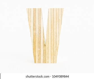 Letter V made with wood on white background. 3d Rendering.