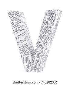 Letter V with old newspaper texture. 3d image