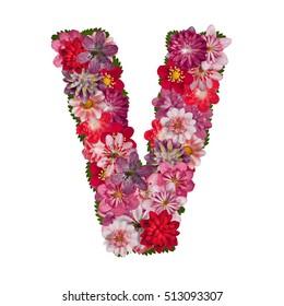 letter V red flowers alphabet