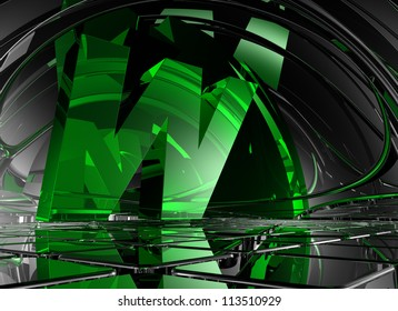 letter w in abstract futuristic space - 3d illustration