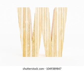 Letter W made with wood on white background. 3d Rendering.