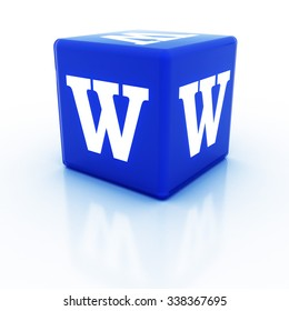 The letter W on the cube. Multicolored alphabet on cubes.