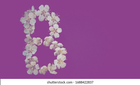 Letter of white flowers on a purple background. Letter B. - Shutterstock ID 1688422837