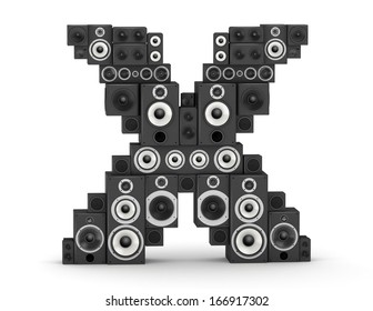 Letter X from black hi-fi speakers sound systems