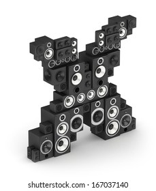 Letter X from black hi-fi speakers sound systems  in isometry