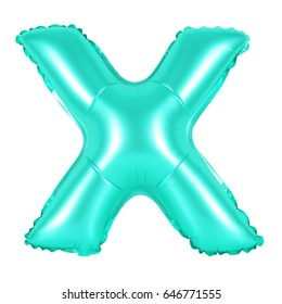 Letter X from English alphabet of turquoise color balloons on a white background