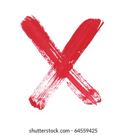 Letter X handwritten paint stroke sketch. Red Isolated on white background. One from collection set.