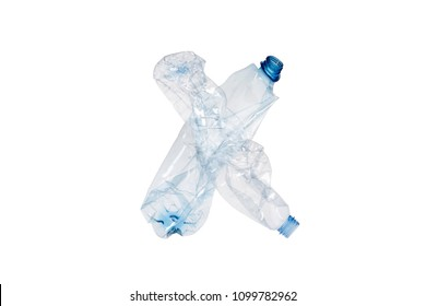 Letter X made of plastic bottle on isolated white background; our irresponsible, excessive consumerism of plastic; social advertising