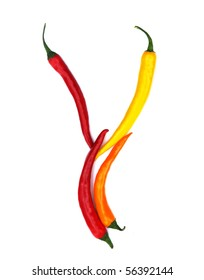 letter Y made from chili