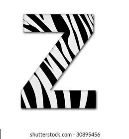 Letter Z from the alphabet. Made of animal print. It has a clipping path.