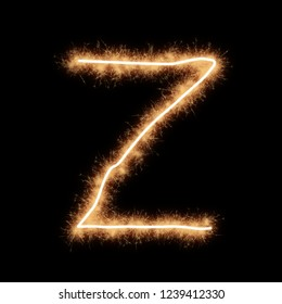 Letter Z of alphabet written by squib sparks on a black background.