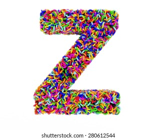 letter z composed of multi-colored rings