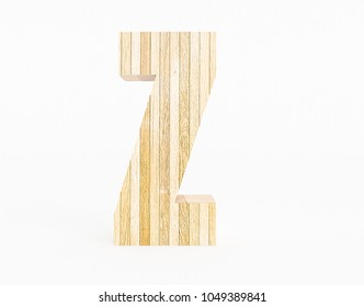Letter Z made with wood on white background. 3d Rendering.