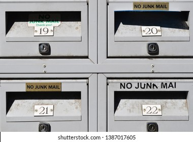 Letterboxes with no junk mail signs