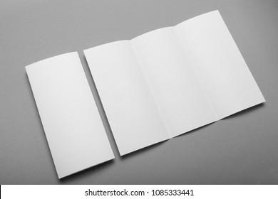 Letterhead blank mockup, trifold leaflet DL flyer template.