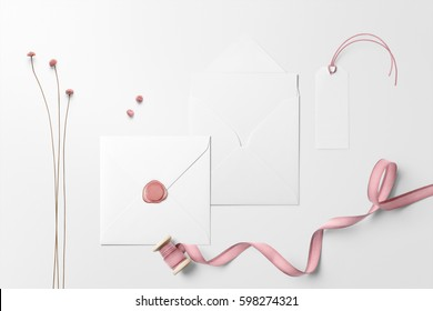 Letterhead, envelope scene mockup, top view, with decor elements, pink ribbon, and blank copy, logo space on white background.