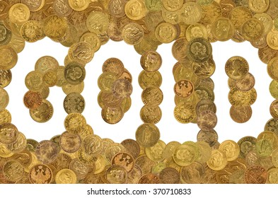 lettering gold. Old  gold coins