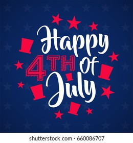 lettering happy fourth of july background with hat and star shade, for independence greeting card