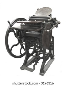 a letterpress from 1888, restored to working condition, isolated on white