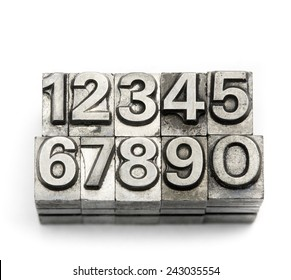 Letterpress  block letter English alphabet and number