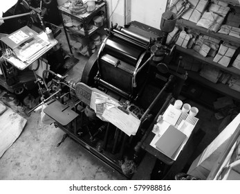 letterpress machine in print factory