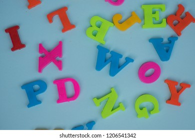 Letters against blue background