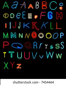 Letters of the alphabet made from neon signs (series 3 of 3)