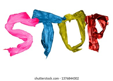 letters arranged in white background, isolate. Stop the poison of toxic decomposition of the plastic