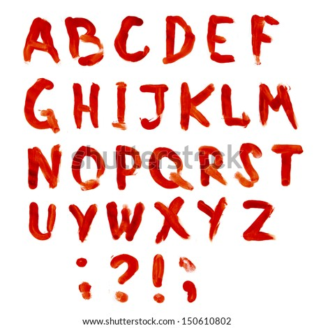 Letters A-Z dripping with blood on white background. Bloodly (bloody) alphabet.