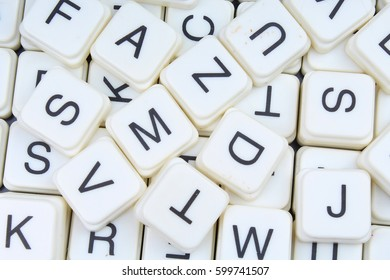Letters as background.3D block letters texture.Letter collection pattern. Alphabets crosswords background.