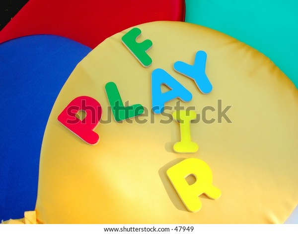 letters and colorful baloons