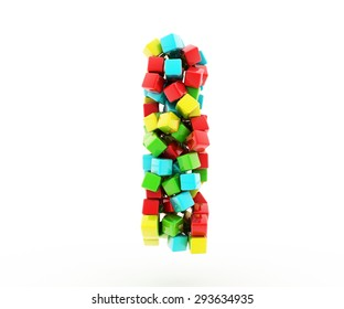 Letters I of colorful cube.