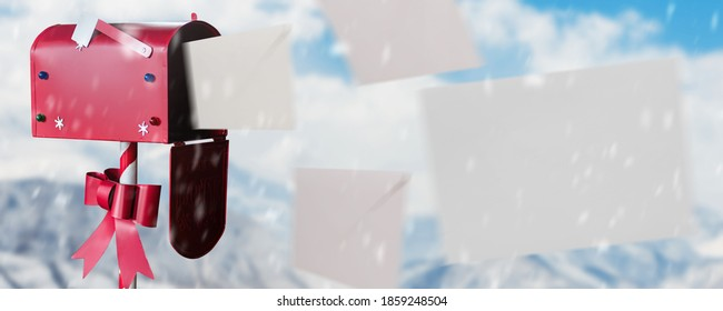 letters flying out of a red mailbox on a Christmas background