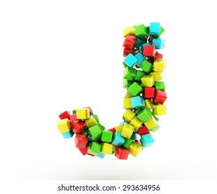 Letters J of colorful cube.