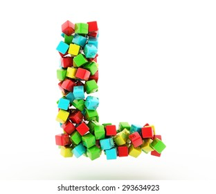 Letters L of colorful cube.