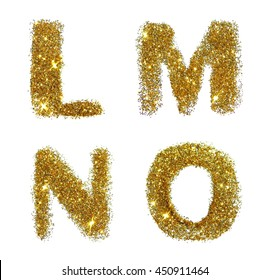 Letters L, M, N, O of golden glitter sparkle on white background