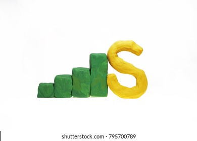Letters made from Play Clay with some visualizations. High quality photo.